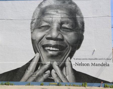ブルックリンのウィリアムズバーグでニューヨーク - 2014 年 6 月 21 日: ネルソン ・ マンデラ氏の壁画。ウィリアムズバーグは現在インディー ロック
