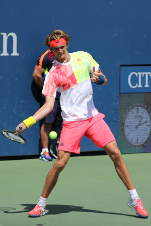 grand slam: NEW YORK - AUGUST 27, 2016: Professional tennis player Alexander Zverev of Germany in action during his second round US Open 2016 match  at Billie Jean King National Tennis Center in New York