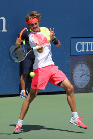 NEW YORK - AUGUST 27, 2016: Professional tennis player Alexander Zverev of Germany in action during his second round US Open 2016 match  at Billie Jean King National Tennis Center in New York