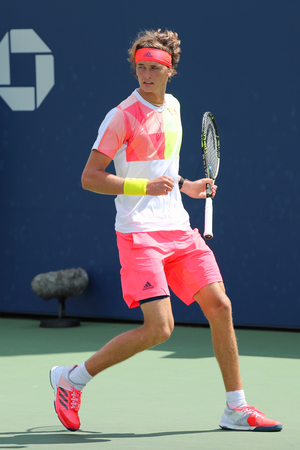 billie: NEW YORK - AUGUST 27, 2016: Professional tennis player Alexander Zverev of Germany in action during his second round US Open 2016 match  at Billie Jean King National Tennis Center in New York