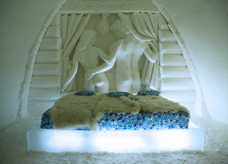 made in finland: KEMI, FINLAND - FEBRUARY 18, 2017: Unique beautifully decorated Honeymoon snow suite in Snow Hotel at LumiLinna Snow Castle in Kemi, Finland. Snow Hotel is the World Luxury Hotel Global Award Winner Editorial