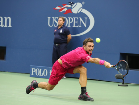 NEW YORK - SEPTEMBER 11, 2016: Three times Grand Slam champion Stanislas Wawrinka of Switzerland in action during his final match at US Open 2016 at Billie Jean King National Tennis Center