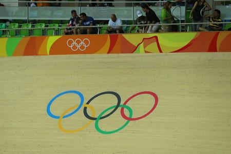 keirin: RIO DE JANEIRO, BRAZIL - AUGUST 13, 2016: Inside of the Rio Olympic Velodrome located in the Barra Olympic Park in Rio de Janeiro