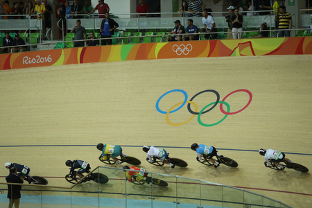 RIO DE JANEIRO, BRAZIL - AUGUST 13, 2016: Cyclists in action during Rio 2016 Olympics womens keirin first round heat 3 at the Rio Olympic Velodrome in the Barra Olympic Park in Rio de Janeiro