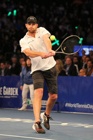 NEW YORK - MARCH 6, 2017: Grand Slam Champion Andy Roddick of United States in action during  BNP Paribas Showdown 10th Anniversary tennis event at Madison Square Garden in New York