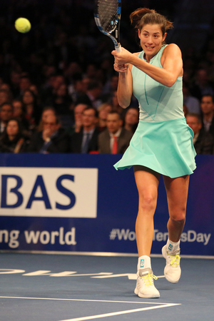 NEW YORK - MARCH 6, 2017: Grand Slam champion Garbine Muguruza of Spain in action during  BNP Paribas Showdown 10th Anniversary tennis event at Madison Square Garden in New York Editorial