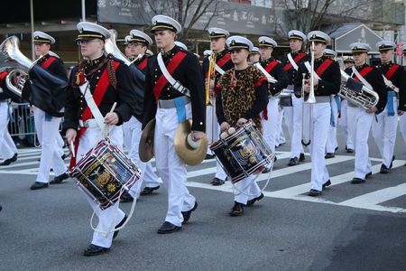 bagpipes: NEW YORK - MARCH 17, 2016: United States Merchant Marine Academy marching at the St. Patricks Day Parade in New York. Editorial