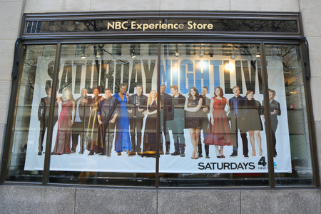 NEW YORK - MARCH 16, 2017: NBC Experience Store window display decorated with Saturday Night Life logo in Rockefeller Center in Midtown Manhattan Editorial