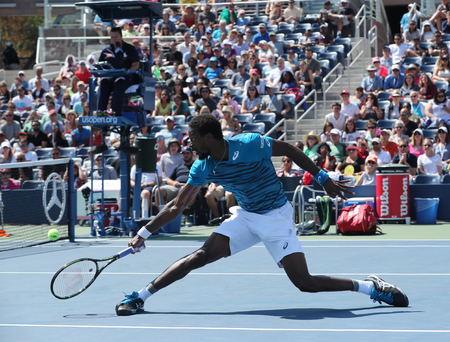 atp: NEW YORK - SEPTEMBER 4, 2016: Professional tennis player Gael Monfis of France in action during US Open 2016 round 4 match at National Tennis Center
