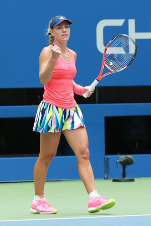 NEW YORK - SEPTEMBER 6, 2016: Grand Slam champion Angelique Kerber of Germany celebrates victory after her quarter final match at US Open 2016 at Billie Jean King National Tennis Center in New York