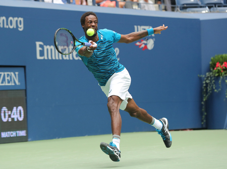 NEW YORK - SEPTEMBER 6, 2016: Professional tennis player Gael Monfis of France in action during US Open 2016 quarterfinal match at National Tennis Center