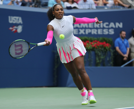 NEW YORK - SEPTEMBER 5, 2016: Grand Slam champion Serena Williams of United States in action during her round four match at US Open 2016 at Billie Jean King National Tennis Center in New York Editorial