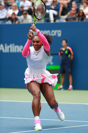 grand hard: NEW YORK - SEPTEMBER 3, 2016: Grand Slam champion Serena Williams of United States in action during her round three match at US Open 2016 at Billie Jean King National Tennis Center in New York