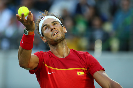 atp: RIO DE JANEIRO, BRAZIL - AUGUST 12, 2016: Olympic champion Rafael Nadal of Spain in action during mens singles semifinal of the Rio 2016 Olympic Games at the Olympic Tennis Centre