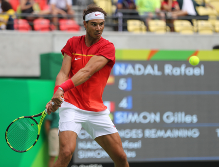 RIO DE JANEIRO, BRAZIL - AUGUST 11, 2016: Olympic champion Rafael Nadal of Spain in action during mens singles round four match of the Rio 2016 Olympic Games at the Olympic Tennis Centre Editorial