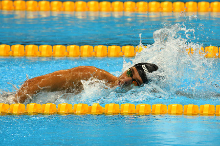 piscina olimpica: RIO DE JANEIRO, BRAZIL - AUGUST 13, 2016: Olympic champion Gregorio Paltrinieri of Italy in action during  the mens 1500 metre freestyle final of the Rio 2016 Olympic Games
