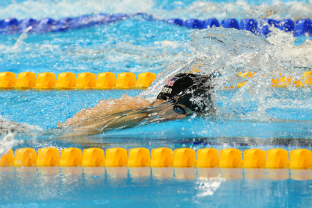 olympic symbol: RIO DE JANEIRO, BRAZIL - AUGUST 13, 2016: Silver medalist Connor Jaeger of United States in action during the mens 1500 metre freestyle final of the Rio 2016 Olympic Games