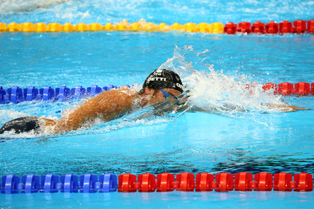 olympic symbol: RIO DE JANEIRO, BRAZIL - AUGUST 13, 2016: Olympic champion Gregorio Paltrinieri of Italy in action during  the mens 1500 metre freestyle final of the Rio 2016 Olympic Games