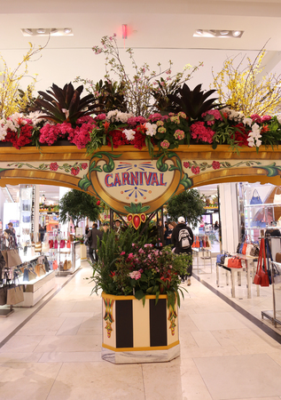 NEW YORK - APRIL 4, 2017: Carnival theme flower decoration during famous Macys Annual Flower Show in the Macys Herald Square in midtown Manhattan