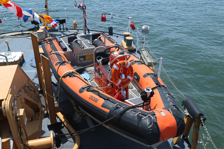 NEW YORK - MAY 26, 2016: The ASIS Coast Guard Rigid Inflatable Boat aboard of United States Coast Guard Cutter Forward during Fleet Week 2016 in New York.