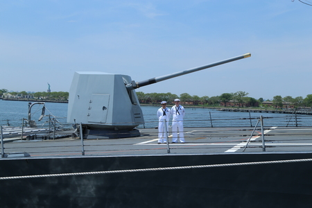 NEW YORK - MAY 26, 2016: Turret containing a 5-inch gun on the deck of US Navy guided-missile destroyer USS Bainbridge during Fleet Week 2016 in New York