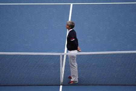 NEW YORK - SEPTEMBER 12, 2015: Chair umpire Marija Cicak ready for US Open 2015 women final match between Roberta Vinci and Flavia Pennetta at Arthur Ashe Stadium  at National Tennis Center in NY Editorial