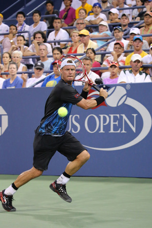 NEW YORK - SEPTEMBER 3, 2015:Two times Grand Slam Champion Lleyton Hewitt of Australia in action during his last US Open match at Billie Jean King National Tennis Center in New York