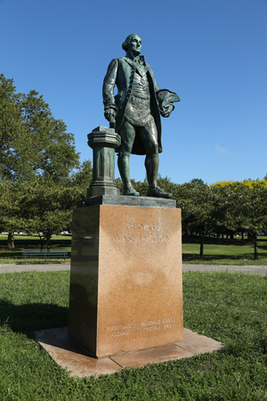 FLUSHING, NEW YORK - AUGUST 28, 2016: George Washington statue as Master Mason by sculptor by Donald De Lue at Flushing Meadows Corona Park in New York. Editorial