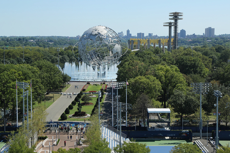 NEW YORK - AUGUST 28, 2016: 1964 New York Worlds Fair Unisphere in Flushing Meadows Park. It is the worlds largest global structure, rising 140 feet and weighing 700 000 pounds Editorial