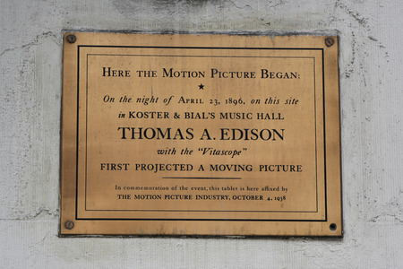NEW YORK - APRIL 4, 2017: Memorial plaque in commemoration of first projected moving picture by Thomas Edison at  Macys Herald Square on Broadway in Manhattan.