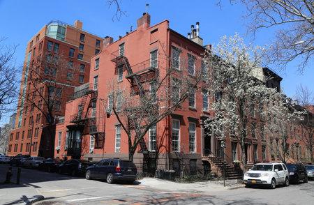BROOKLYN, NEW YORK - APRIL 11, 2017: New York City brownstones at historic Brooklyn Heights neighborhood. Brooklyn Heights is an affluent residential neighborhood within the New York City borough of Brooklyn Editorial