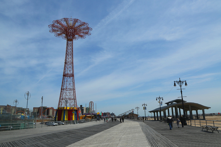 BROOKLYN, NEW YORK - APRIL 13, 2017: Parachute jump tower - famous Coney Island landmark in Brooklyn. It has been called the Eiffel Tower of Brooklyn