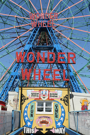 BROOKLYN, NEW YORK - APRIL 13, 2017: Wonder Wheel at the Coney Island amusement park. Deno`s Wonder Wheel a hundred and fifty foot eccentric Ferris wheel. This wheel was built in 1920
