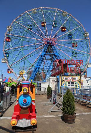 BROOKLYN, NEW YORK - APRIL 13, 2017: Wonder Wheel at the Coney Island amusement park. Denos Wonder Wheel a hundred and fifty foot eccentric Ferris wheel. This wheel was built in 1920