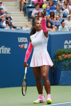 grand slam: NEW YORK - SEPTEMBER 3, 2016: Grand Slam champion Serena Williams of United States in action during her round three match at US Open 2016 at Billie Jean King National Tennis Center in New York
