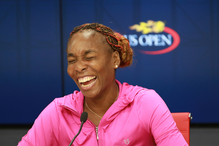 grand slam: NEW YORK - SEPTEMBER 1, 2016: Grand Slam champion Venus Williams of United States during press conference at the Billie Jean King National Tennis Center during US Open 2016 Editorial