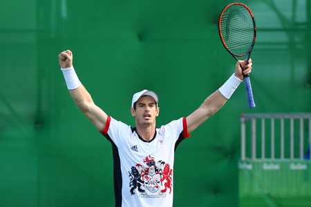 RIO DE JANEIRO, BRAZIL - AUGUST 12, 2016: Olympic champion Andy Murray of Great Britain celebrates victory after mens singles quarterfinal of the Rio 2016 Olympic Games at the Olympic Tennis Centre