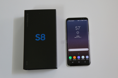 NEW YORK - APRIL 23, 2017: Samsung newest phone Galaxy S8 now being delivered to pre-order customers in New York Sajtókép