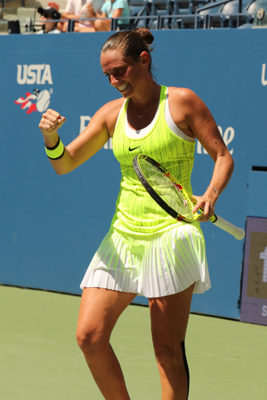 NEW YORK - AUGUST 29, 2016: Professional tennis player Roberta Vinci of Italy celebrates victory after her first round match at US Open 2016 at National Tennis Center in New York