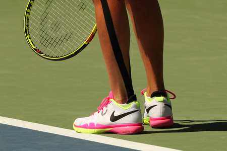 NEW YORK - AUGUST 29, 2016: Professional tennis player Roberta Vinci of Italy wears Nike tennis shoes during her first round match at US Open 2016 at National Tennis Center in New York