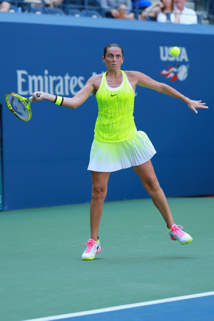 NEW YORK - AUGUST 29, 2016: Professional tennis player Roberta Vinci of Italy in action during her first round match at US Open 2016 at National Tennis Center in New York