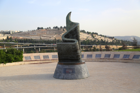 JERUSALEM, ISRAEL - APRIL 30, 2017: September 11 Living Memorial Plaza in Jerusalem. It is the first monument outside of the USA which lists the names of the nearly 3,000 victims of the 911 attacks