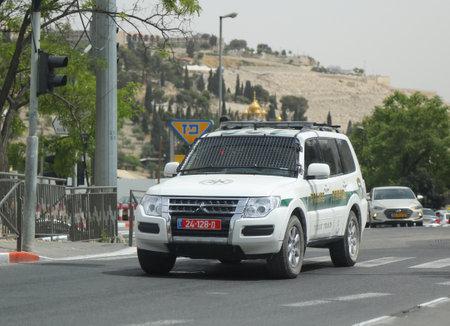 JERUSALEM, ISRAEL - APRIL 30, 2017: Israeli police car provides security in Jerusalem.