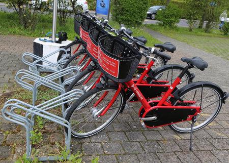 THUN, SWITZERLAND - MAY 4, 2017: Velospot bike station in Thun, Switzerland. Velospot is an automatic bike renting system in several Swiss cities