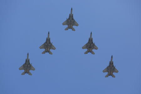 BEER SHEBA, ISRAEL - MAY 2, 2017: F-35I Stealth Fighters during Israels Annual Independence Day Air Force Flyover in Beer Sheba