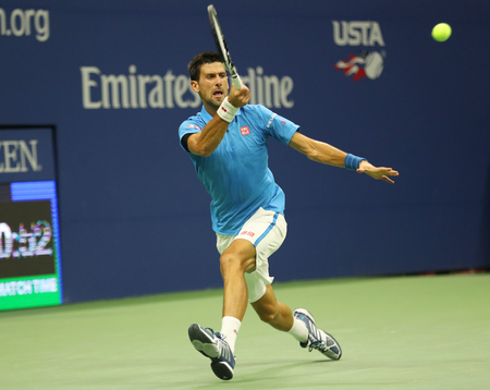 NEW YORK- SEPTEMBER 6, 2016: Twelve times Grand Slam champion Novak Djokovic of Serbia in action during his quarterfinal match at US Open 2016 at Billie Jean King National Tennis Center in New York Editorial