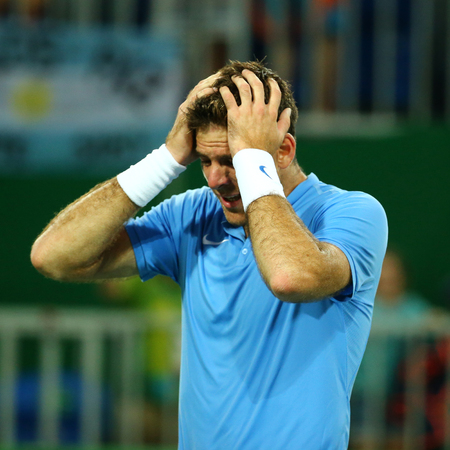 RIO DE JANEIRO, BRAZIL - AUGUST 12, 2016: Grand Slam Champion Juan Martin Del Porto of Argentina after victory at mens singles quarterfinal of the Rio 2016 Olympic Games at the Olympic Tennis Centre