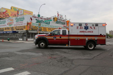 BROOKLYN, NEW YORK - MAY 23, 2017: FDNY Ambulance in Brooklyn. FDNY is the largest combined Fire and EMS provider in the world