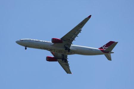 NEW YORK - MAY 20, 2017: Virgin Atlantic Airbus A330 descends for landing at JFK International Airport in New York