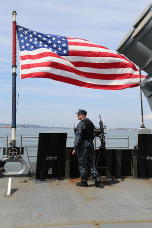 best protection: NEW YORK - MAY 28, 2017: Unidentified US Navy providing security during Fleet Week 2017 in New York